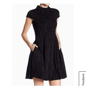 ELIZA J black velvet damasc mock-neck dress